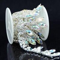 1yds AB Resin Crystal Clear Glass Rhinestone Bridal Trim Fashion Chain Silver