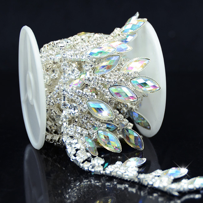 1yds AB Klar Crystal Klar Glas Rhinestone Bridal Trim Mode Kedja Silver