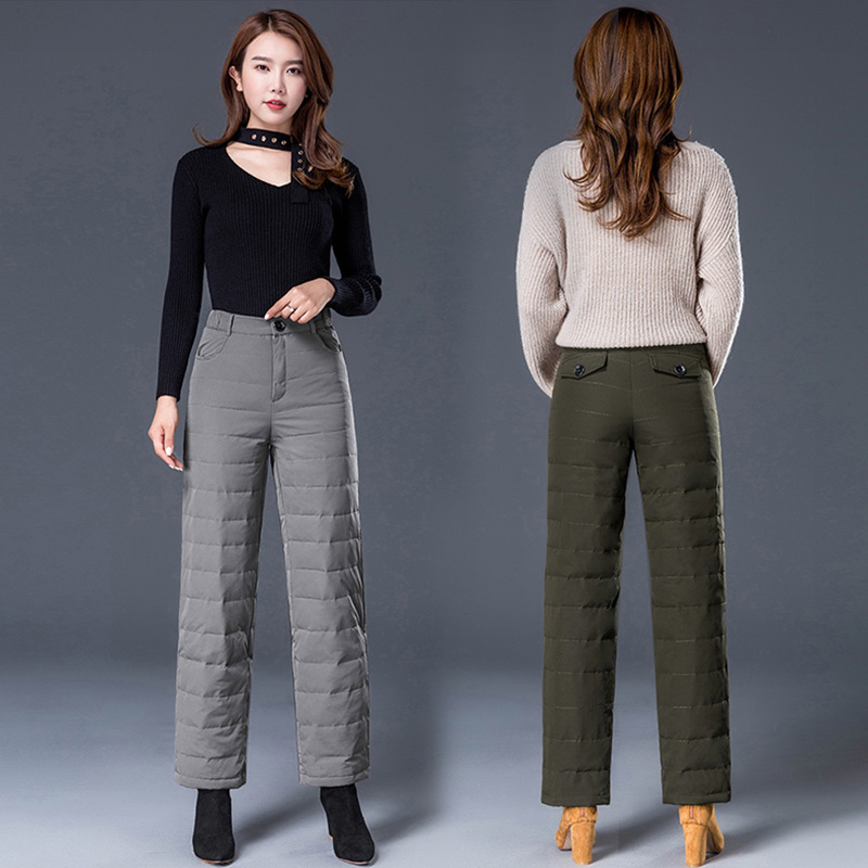 Warm Woman Down Pants With 90% White Duck Down Durable Loose Material Elastic Band For Winter Fahion Design Mid Waist Loose Cut