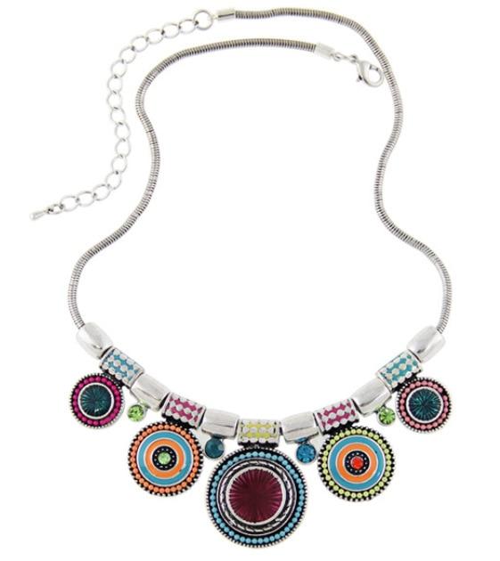 2016 Vintage Ethnic Bohemian Geometric Round Enamel Colorful Beads Crystal Necklaces Pendants For Women Statement Maxi
