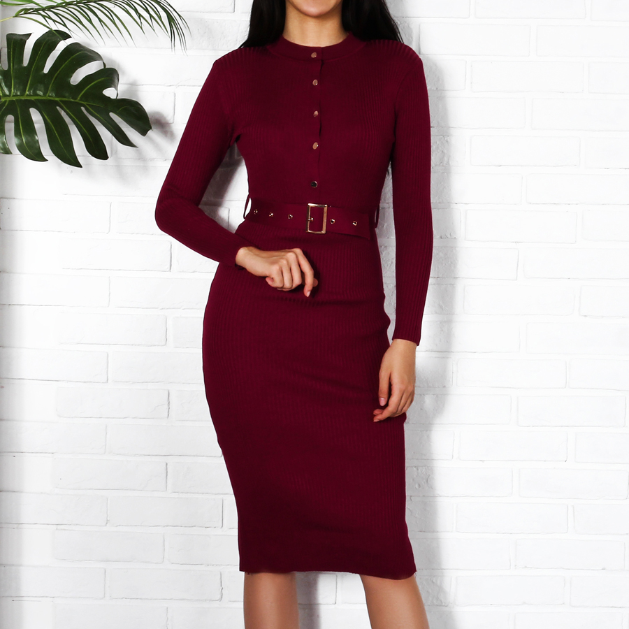 0a9559d51d4 Women Midi Sweater Dress Autumn Winter 2018 New Fashion Button Long Sleeve  Pencil Dress Knitted Women Bodycon Black Red