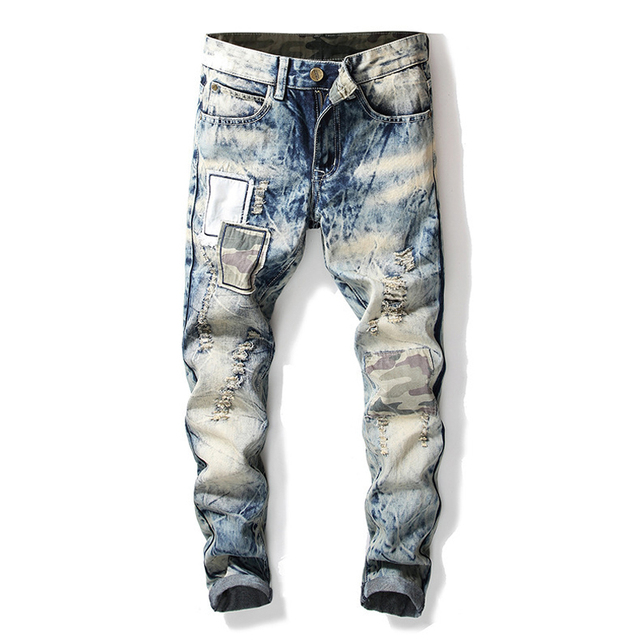 Fashion Streetwear Men Jeans Retro Snow Wash Destroy Ripped Jeans Men Denim Punk Pants Patchwork Hip Hop Pants Biker Jeans Homme