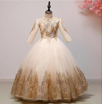 Kids Dress Sequin Gold Lace Girl Prom Princess Formal Dress Long Sleeve Flower Girls Dresses Pageant Party Wedding Ball Gown