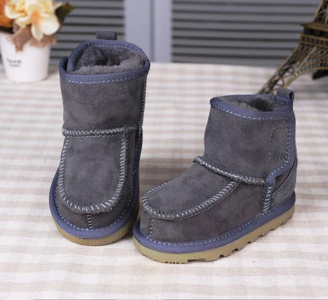 Piel De Cabra Real Bebé Botas de Nieve de Invierno 2016 Niños de la Marca bebé Feo Botas Zapatos Niños de Cuero Geanuine Australia Zapatos de 1-4 Años