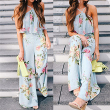 Fashion summer jumpsuit woman 2018 Strap Floral Sleeveless Backless Jumpsuit Long Wide Leg Trousers pantaloni siamesi