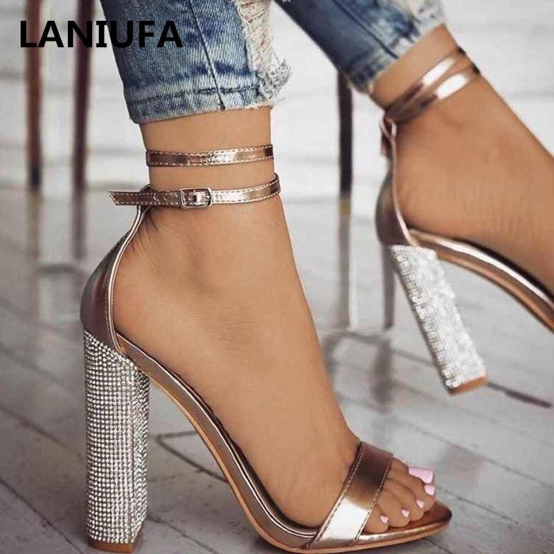 Lady Shoes Sandals Pumps Heels-Dress Ankle-Strap Rhinestone Square High-Heels Plus-Size