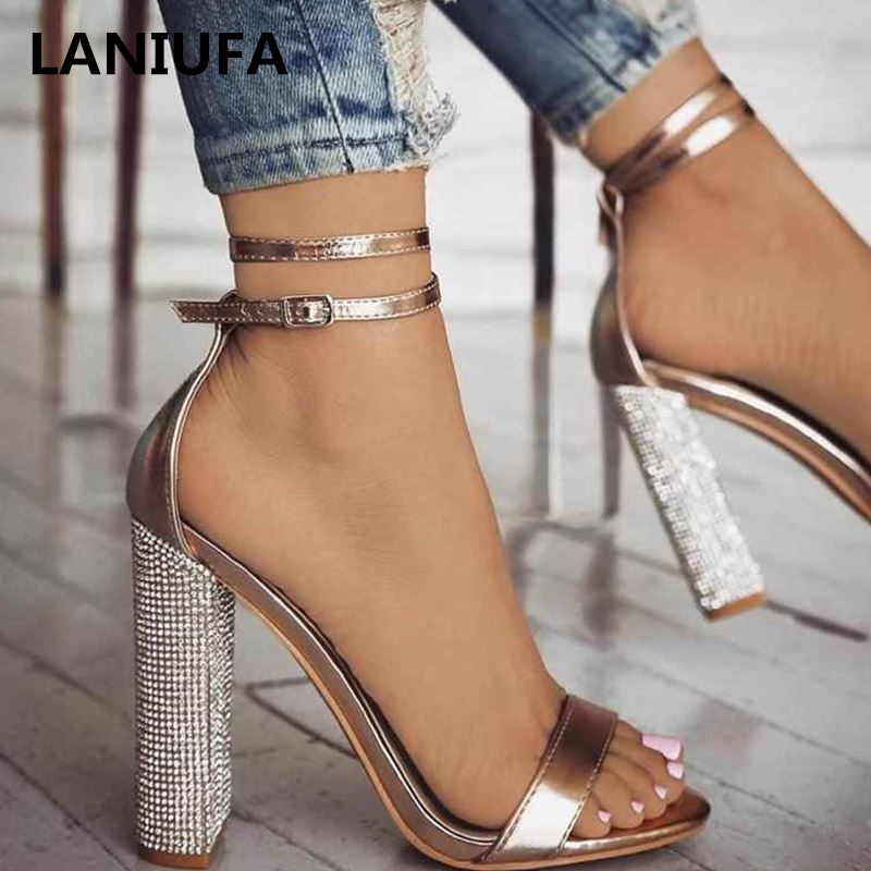 New Women Heeled Sandals Bandage Rhinestone Ankle Strap Pumps Super High Heels Square Heels Dress Lady Shoes Plus Size 34-43 &21