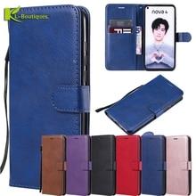 Nova 4 Case on sFor Funda Huawei Cover for nova nova4 Cases Classic Plain Style Flip Wallet Phone Women Men