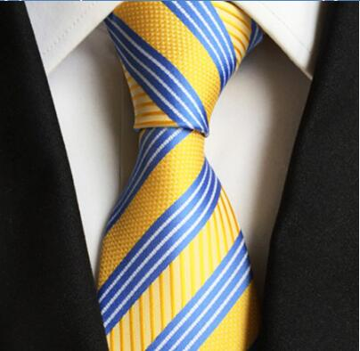 Brand New Fashion 8cm Design Ties Stylish Handmade Blue With Yellow Stripe Necktie Classic Jacquard Woven Gravatas For Adult
