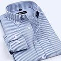 2017 Новое Прибытие Мужская Классический Стиль Марка Одежды мужская Оксфорд Рубашки Мужские Без Железа Полосатый Мода Бизнес формальные Рубашки