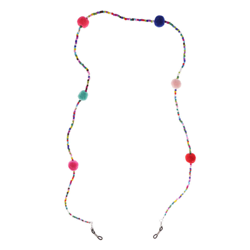 Anti Slip Colorful Beads Plush Ball Eyeglass Chain Necklace Lady Girls Reading Glasses Chain Cord Holder Neck Strap Rope