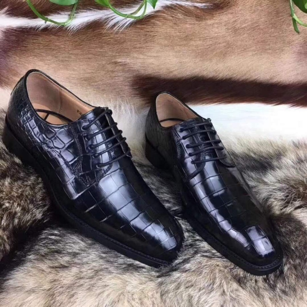 100% Genuine Real Crocodile Belly Skin Shinny 2 Colors Leather Men Shoe Durable Solid Crocodile Skin Men Dress Shoe Official 2019 New Fashion Style Online Men's Shoes