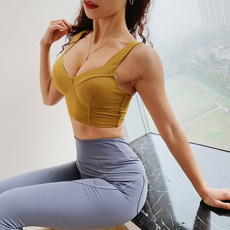Women Anti-sagging Sports Bra Crop Top Sexy Gym Cropped Top Fitness Yoga Bra Padded Push Up Sports Bra Fitness Workout Shirts 2