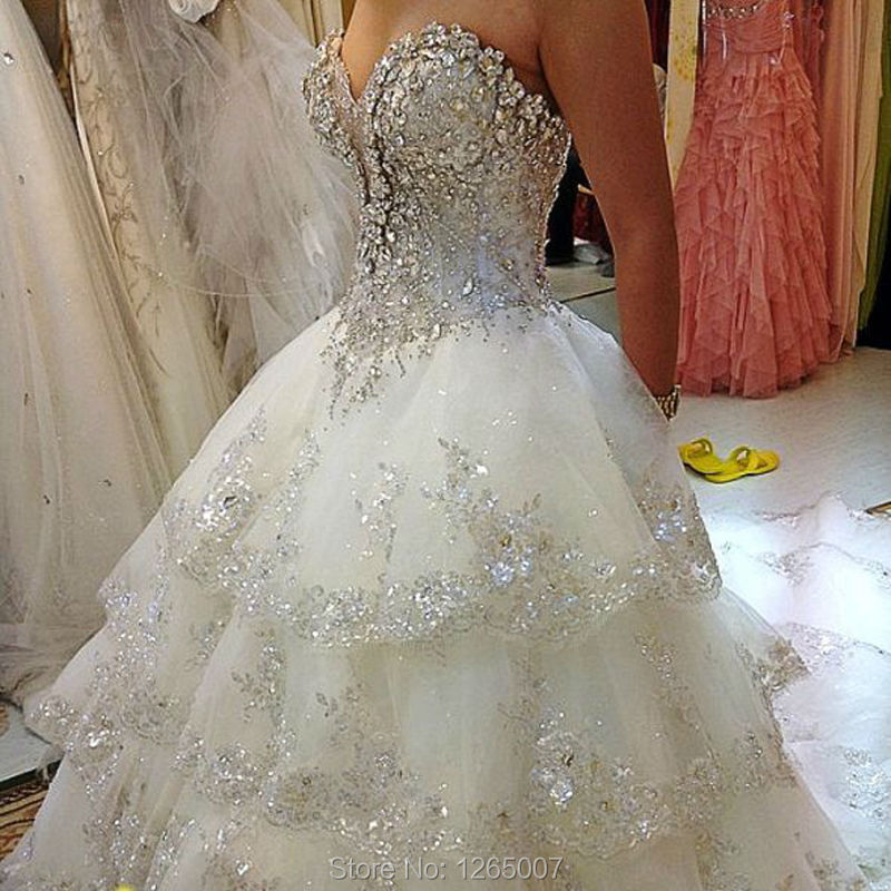 2016 Sweetheart Sparkly Silver Diamond Crystal Rhinestone Glitter Sequins Layered Wedding Dresses Gown New Fashion Bridal Dress In From