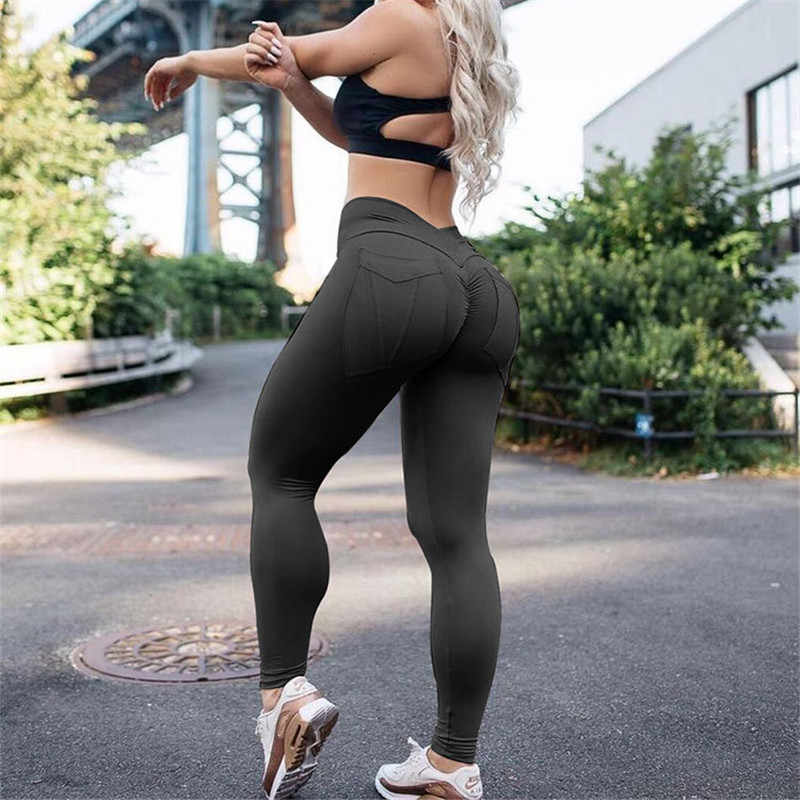 130780a0acf53 ... Women Fitness Leggings High Waist leggins Push Up Leggings Female  Workout Leggings Feminina Solid Pocket Legging ...