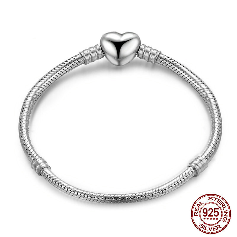 New Authentic 925 Sterling Silver Love Heart Clasp Charm Bracelets For Women Girl Fit Silver Bracelet Bangle Snap Button Jewelry pd2 ztung custom made pd2 bracelet sterling silver for women and men have heart for love