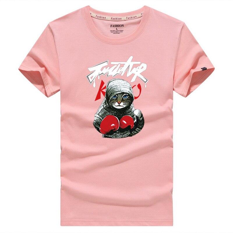 Hot Sale Newest 2019 Summer Men T-shirt Fashion Brand Kung Fu cat Print Cotton T shirt Men Trend Casual Short sleeve Tshirt Tops