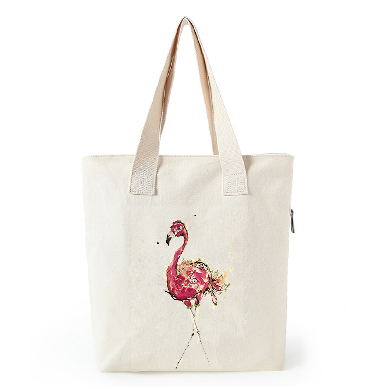 Flamingo print canvas tote bag customized eco bags custom made shopping bags with logo  Dachshund Shepherd Dog Poodle (14)