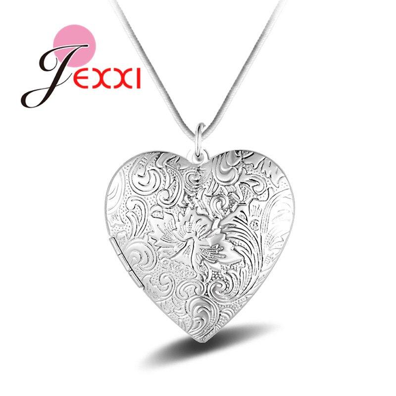 YAAMELI Hot Trendy Women Real 925 Sterling Silver Heart Shape Pendant Necklace Women Jewelry Photo Frame Design Vintage Bijoux