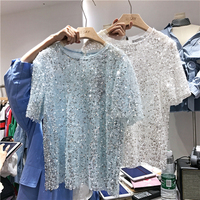 Casual Sequined Loose Women S White T Shirt 2018 New Summer O Neck All Match Ladies