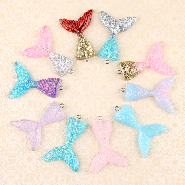 10pcs 32x41mm Resin mermaid tail charms accessories beauty cream mobile phone Key Chain Earrings DIY fishtail pendant material