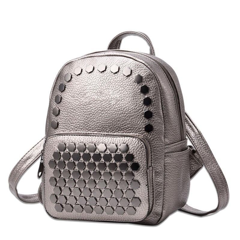 Mode femmes Sac école dame Sac à dos PU cuir sacs étudiant Sac à bandoulière décontracté femme gothique sacs à dos Softback sacs Sac