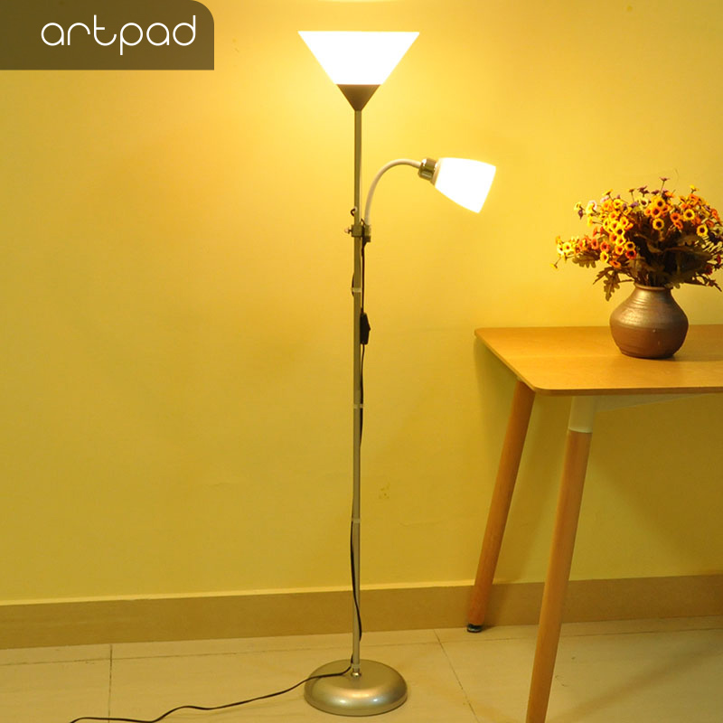 light stand for living room small diy ideas artpad modern nordic 5w led floor lamp with 2 adjustable bedroom ac110 260v e27 home lighting aliexpress com imall