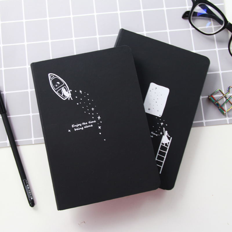 JUGAL Black Star Notebook Hardcover Diary DIY Blank Black Paper Sketch Book 96sheets Notepad School Office Supply Papelaria