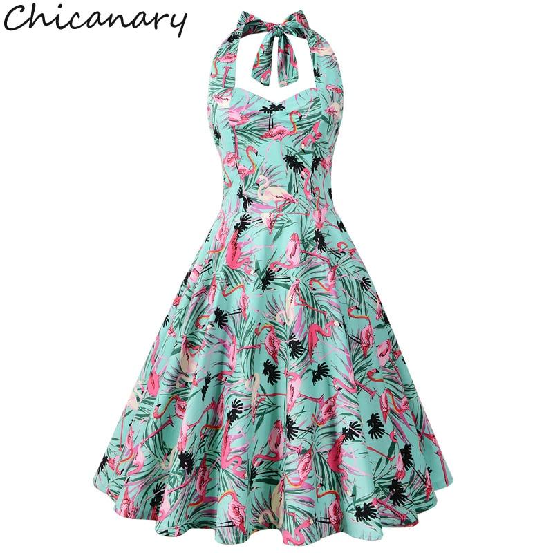 Chicanary Floral Cherry Flamingo Print Women Halter ...