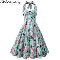 Chicanary Floral Cherry Flamingo Print Women Halter Vintage Dress 1950s Rockabilly Retro Full Dresses