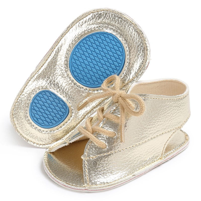 Summer Baby Girls Boys Pu Leather Sandals Lace Up Sandal Baby Peep Toe Flat Brand Toddler Beach Brown Shoes