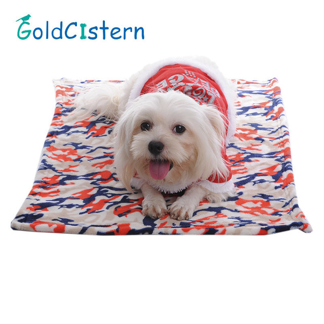 Pet Dog Cats Soft Warm Blankets Mats Beds Cool Camouflage Design Soft Coral Fleece Pad Quilt Cushion For Doggy Puppy Kitten