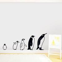 2016 Nuovo-Adesivi Murali Famiglia Di Pinguino-Cinque Penguins Linea Per Andare Decalcomania Del Vinile Personalizzato Pasta Forma Bedroom Wall Art Decor