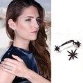 Brincos micro pave configuração brincos pequena estrela com arma preta preto Chapada Cuff Brincos Para As Mulheres Menina Ear Cuff Partido WE136
