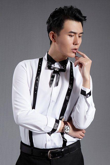 2017  Male shirt white rhinestone long-sleeve shirt collar costume male  39-44 The singer's clothing