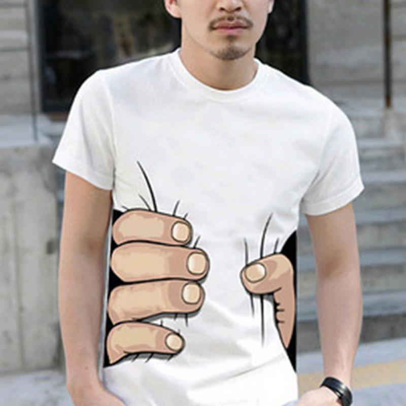 Hot Sales Men 3D T Shirt Short Sleeve Cotton T-shirt For Men Famous Breathable O Neck Tops Tees Funny Black Men Clothing XL