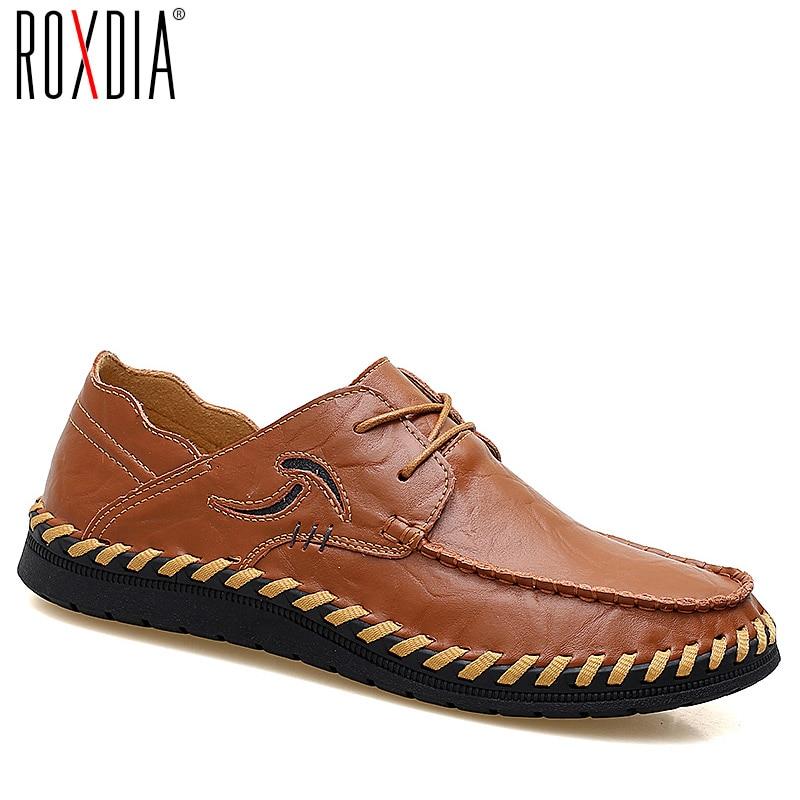 ROXDIA split leather casual men loafers fashion handmade waterproof flats shoes footwear male driver shoe plus size 39-47 RXM083