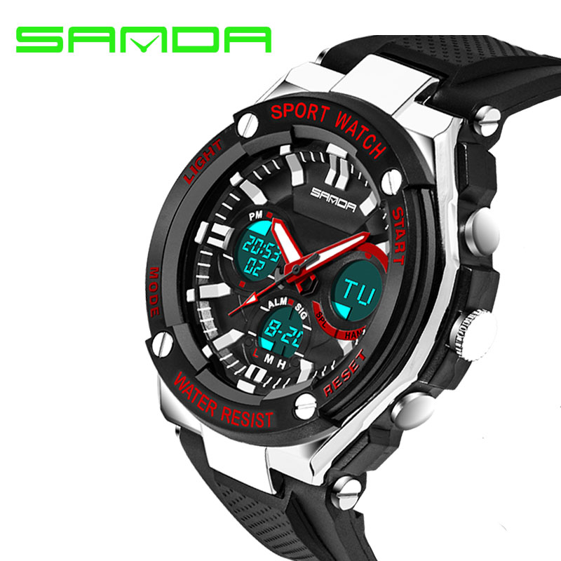 Cool Mens Military Watch For Men Sport Watches SANDA Luxury Brand Analog Quartz And LED Digital Outdoor Waterproof Watches