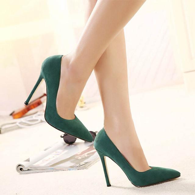 2017 New Hot Flock Bombas Pontas Do Dedo Do Pé Das Mulheres Sapatos Único Verde vermelho Rosa Preto Fosco de Salto Fino Sapatos de Salto Alto Plus Size ZK35