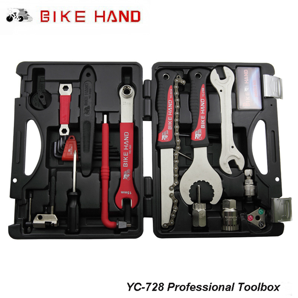 BIKEHAND YC-728 18-in-1 Bicycle Repair Tool Kit Professional Bike Repair Tool Box Home for Shimano Cycling Repair Case Tool Sets 44pcs set mountain bike patchs maintenance repair box diagnostic tools kit valuables cycling chain case bicycle accessories