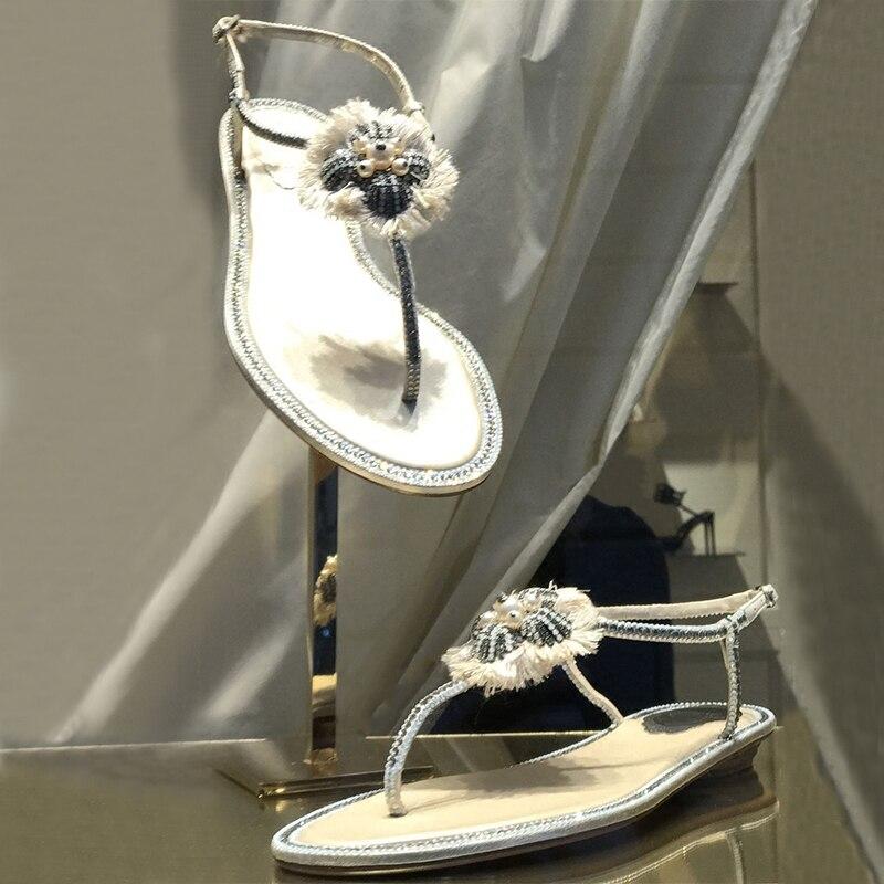 Sandales Casual Femme 2018 De Diapositives Marée As Pic Doux Nouvelles D'été Conception as Pic Confortable Plat Cristal Chaussures Plage String SqIw5PfxIR