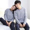 Марка Осень Полный Рукав Чистого Хлопка Синий и Белый Полосатый Пара Пижама Пижама Mujer Любителя Pijamas Устанавливает мужские Пижамы пижамы