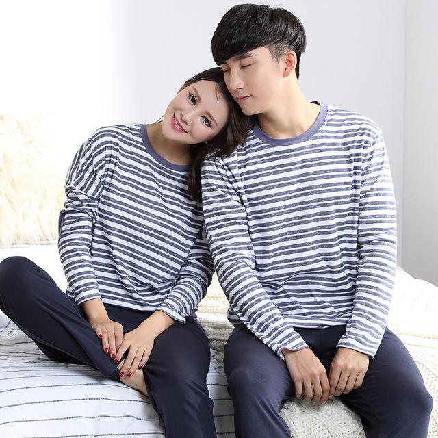 Marca Otoño Lleno de la Manga Azul y Blanco A Rayas de Algodón Puro Par de Pijamas Pijama Mujer Amante Pijamas Conjuntos de Pijamas para hombres ropa de dormir