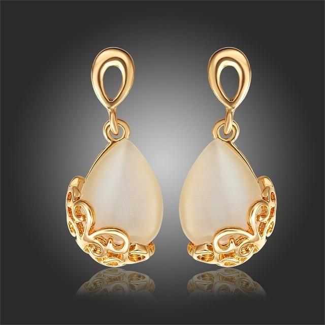 3855f662071ee US $4.99   Yellow Gold Color Teardrop White Opal Moonstone Fringe Filigree  Drop Dangle Earrings for Women Elegant Grace Party Jewelry-in Drop Earrings  ...