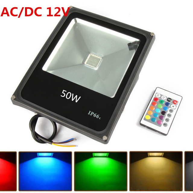 10pcs Outdoor Led Flood light RGB 50W AC/DC 12V Led Floodlight Waterproof Halogen lamp Landscape lighting+Remote Control