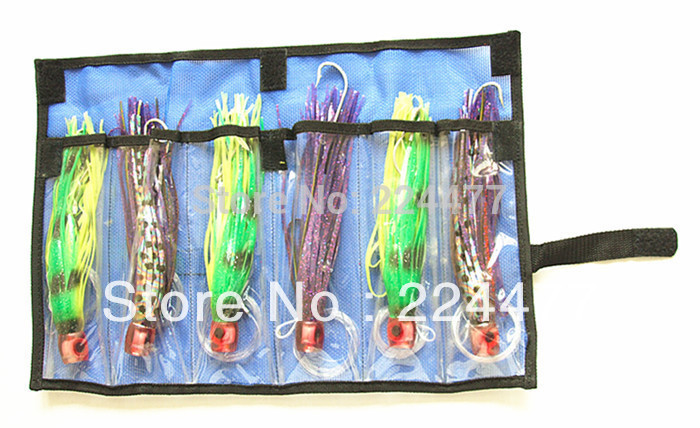 Livraison gratuite-8-8.5 pouces 3 taille pieuvre jupe jeu leurres thon leurres pêche à la traîne attirail souple appât PP tête souple avec crochet lin