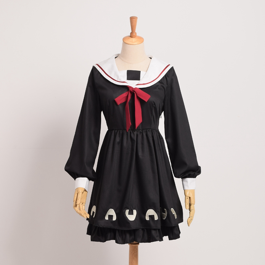 Girls Preppy Sailor Collar Harajuku Dress Japanese Rice Ball Yummy Black Long Sleeves JSK Lolita Dresses