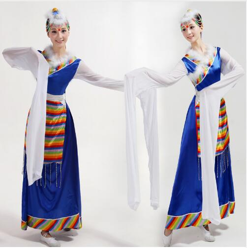 Show details for (0179) New Fashion Chinese Folk Dance Costumes Tibetan Apparel Uighur Costume Of Minority Clothing Stage Performance Suits