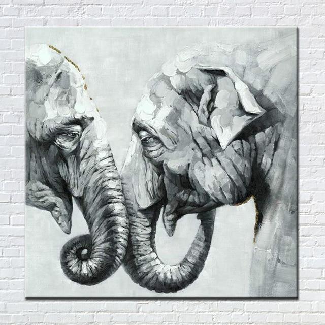 Elefante blanco negro pintura al óleo moderna pintada a mano Cuadros ...