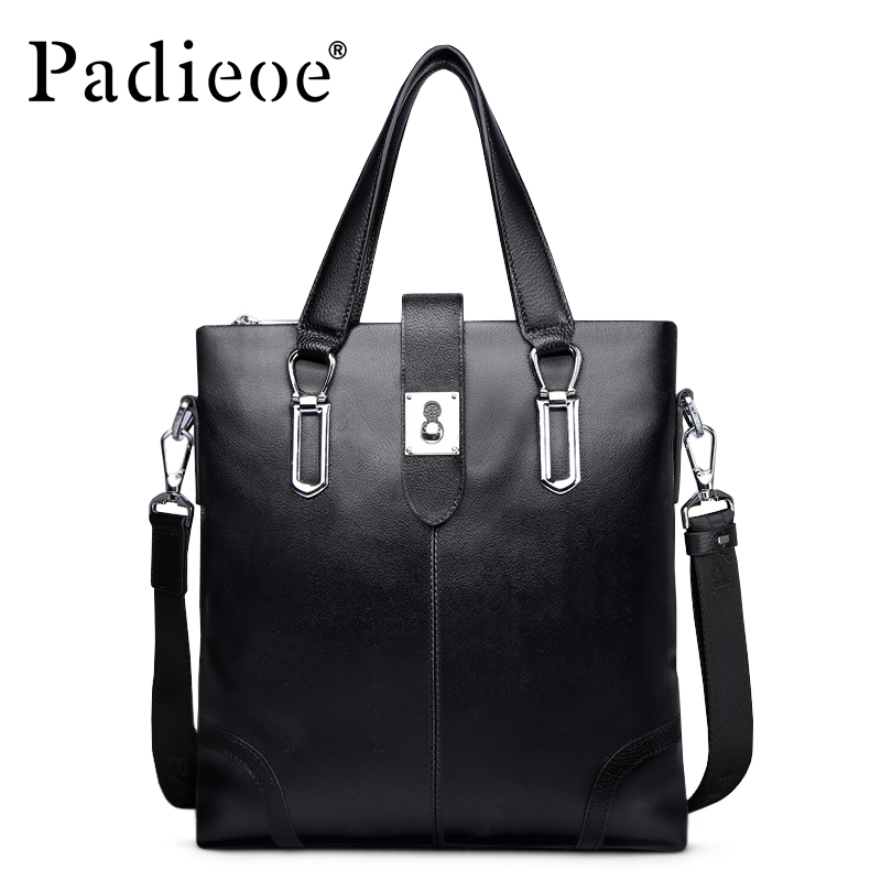 Padieoe Brand Fashion Men Briefcase Genuine Leather Handbag Shoulder Bags Tote Laptop Bag Crossbody Bag Men's Messenger Bag padieoe famous brand handbag men shoulder bags leather messenger bag business briefcase laptop bag men s tote bag free shipping